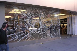 display window at the San Francisco Apple Computer store