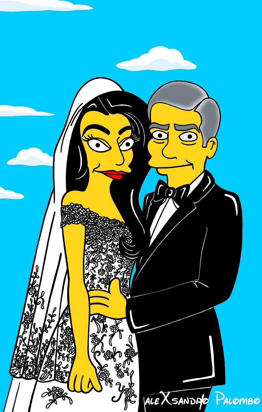 George Clooney Amal Alamuddin Simpsonized The Simpsons Wedding Venice Italy Amore Love Picture Art Cartoon Iconic Style Fashion Look Artist aleXsandro Palombo 0