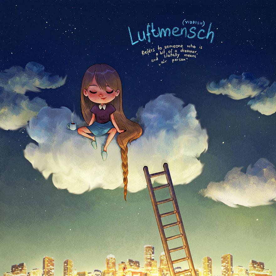 """'Luftmensch': Se refiere a alguien que es un poco soñador, literalmente significa """"persona de aire"""" o que vive en las nubes"""