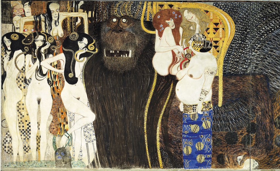 Gustav Klimt, Beethoven Frieze (detail), 1901. Photo: via Wikimedia Commons.