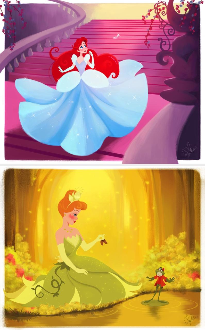 Ariel como Cenicienta y Cenicienta como Tiana