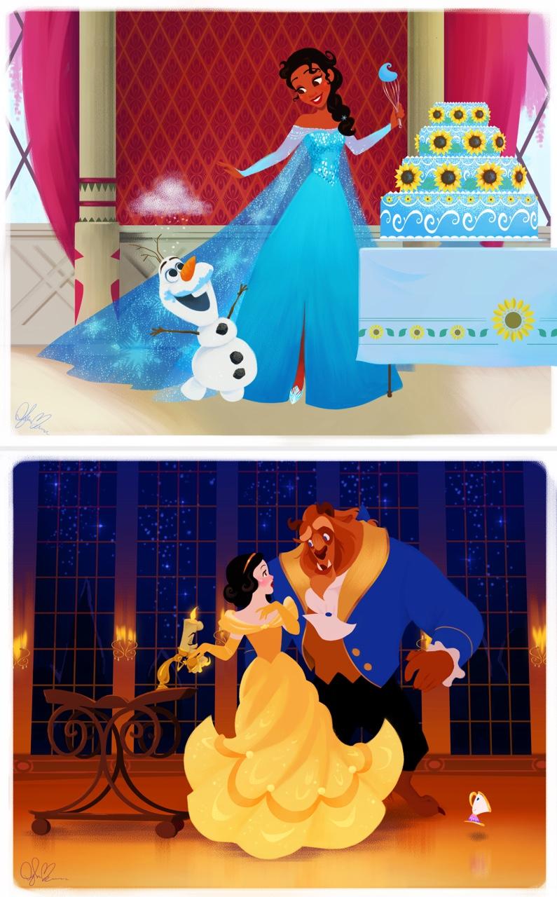 Tiana como Elsa en Frozen y Blancanieves como Bella