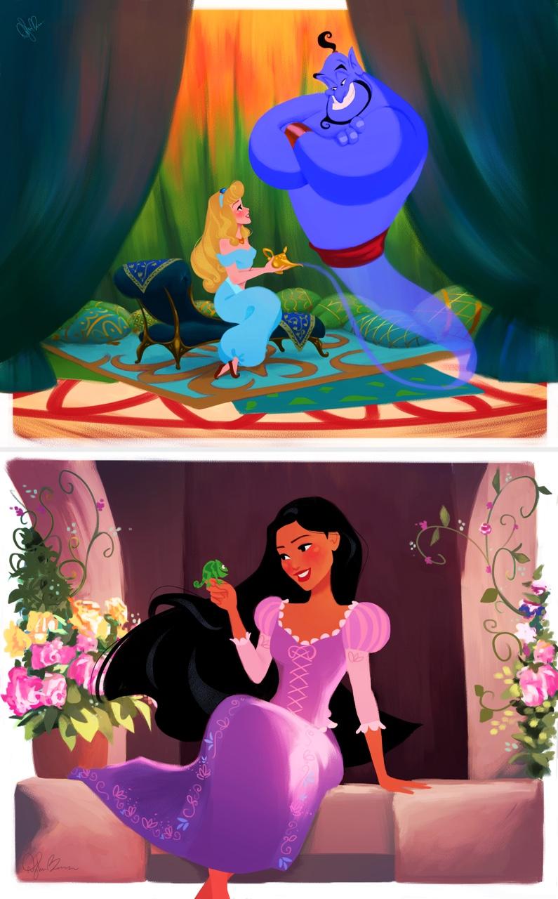 Aurora como Jasmine en Aladín y Pocahontas como  Tiana