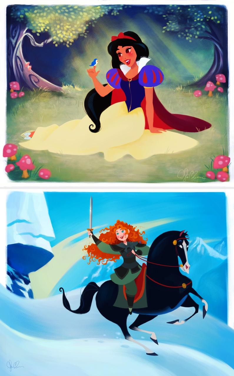 Jasmine como Blancanieves y Mérida como  Mulan