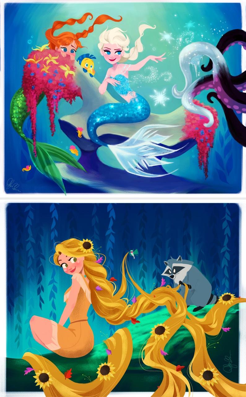 Elsa como Ariel y Rapunzel como Pocahontas