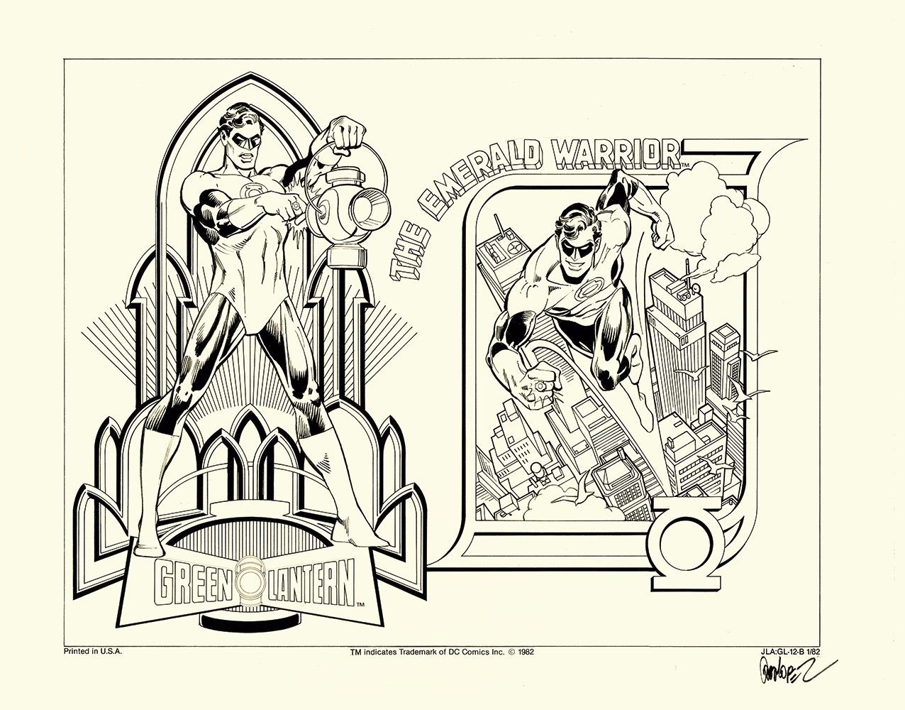 JOSÉ LUIS GARCÍA LÓPEZ GREEN LANTERN: THE EMERALD WARRIOR DC Comics, EE. UU., 1982 Ilustración para merchandising Collage con tinta y lápiz sobre cartulina 304 x 400 mm Colección privada