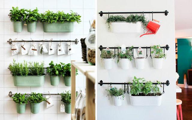 31 ideas creativas con plantas para tu cocina malatinta for Decoracion de macetas para plantas