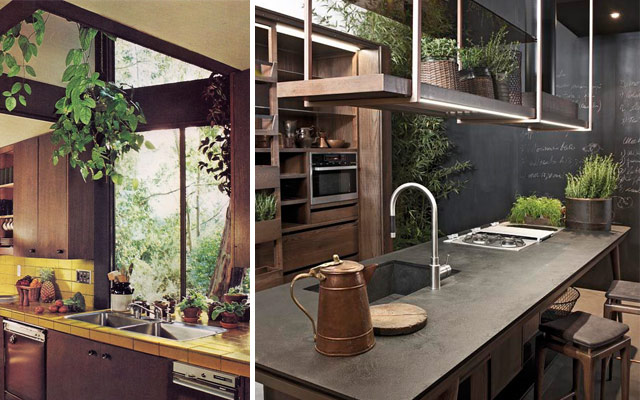 31 ideas creativas con plantas para tu cocina malatinta for Macetas para cocina