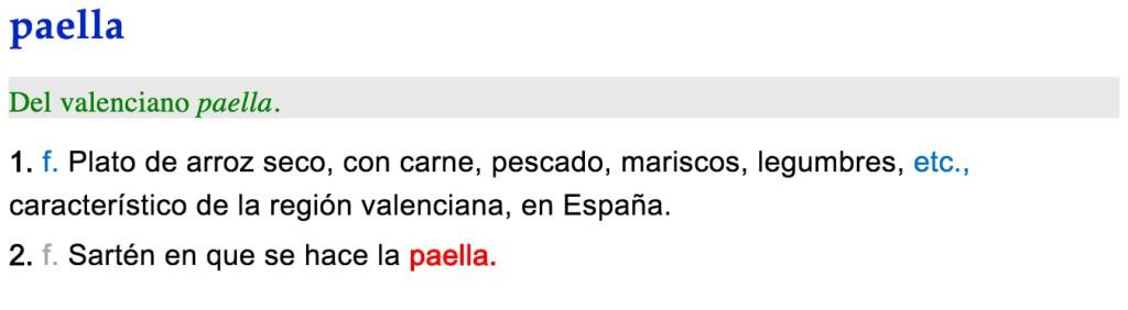 Paella definición RAE