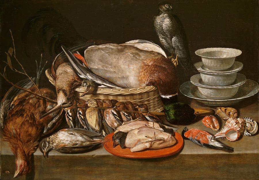 Bodegón con gavilán, aves, porcelana y conchas. Clara Peeters. Óleo sobre tabla, 52 x 71 cm. 1611. Madrid, Museo Nacional del Prado.