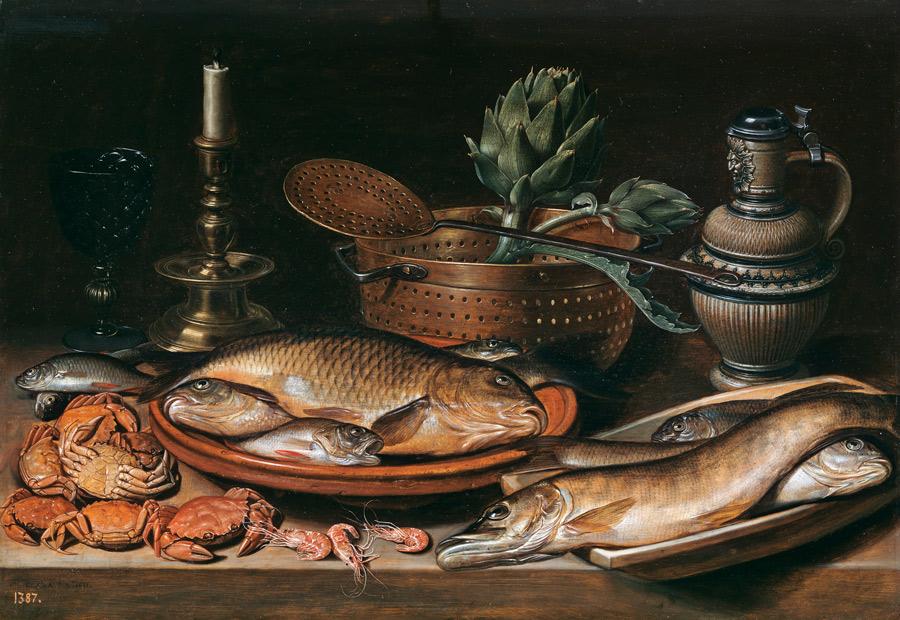 Bodegón con pescado, vela, alcachofas, cangrejos y gambas. Clara Peeters. Óleo sobre tabla, 50 x 72 cm. 1611. Madrid, Museo Nacional del Prado.