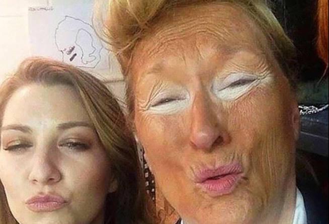 La actriz Meryl Streep se mofa del naranja de la cara de Trump