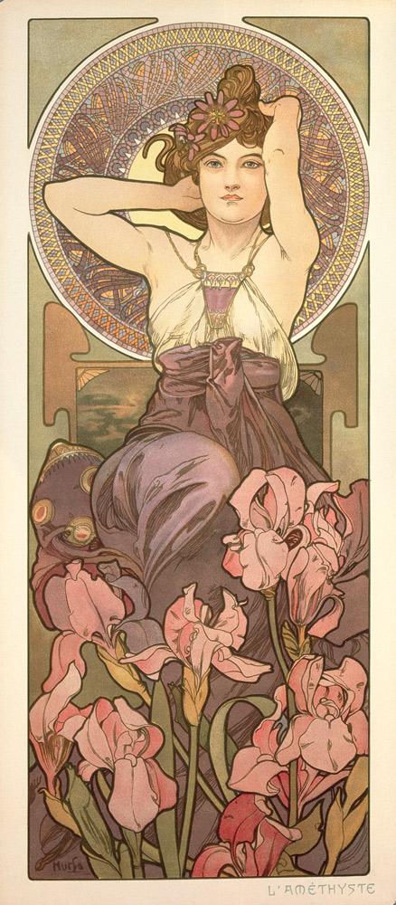 Alphonse Mucha Le pietre preziose: Ametista 1900Serie di quattro pannelli decorativi Litografía en color, 67,2 x 30 cm ciascuna © Mucha Trust 2016
