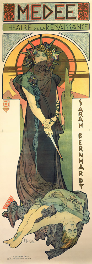 Alphonse Mucha Médée 1898Litografía en color , 206x76 cm © Mucha Trust 2016